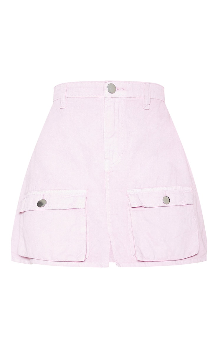 Lilac Neon Pocket Detail Denim Skirt  3