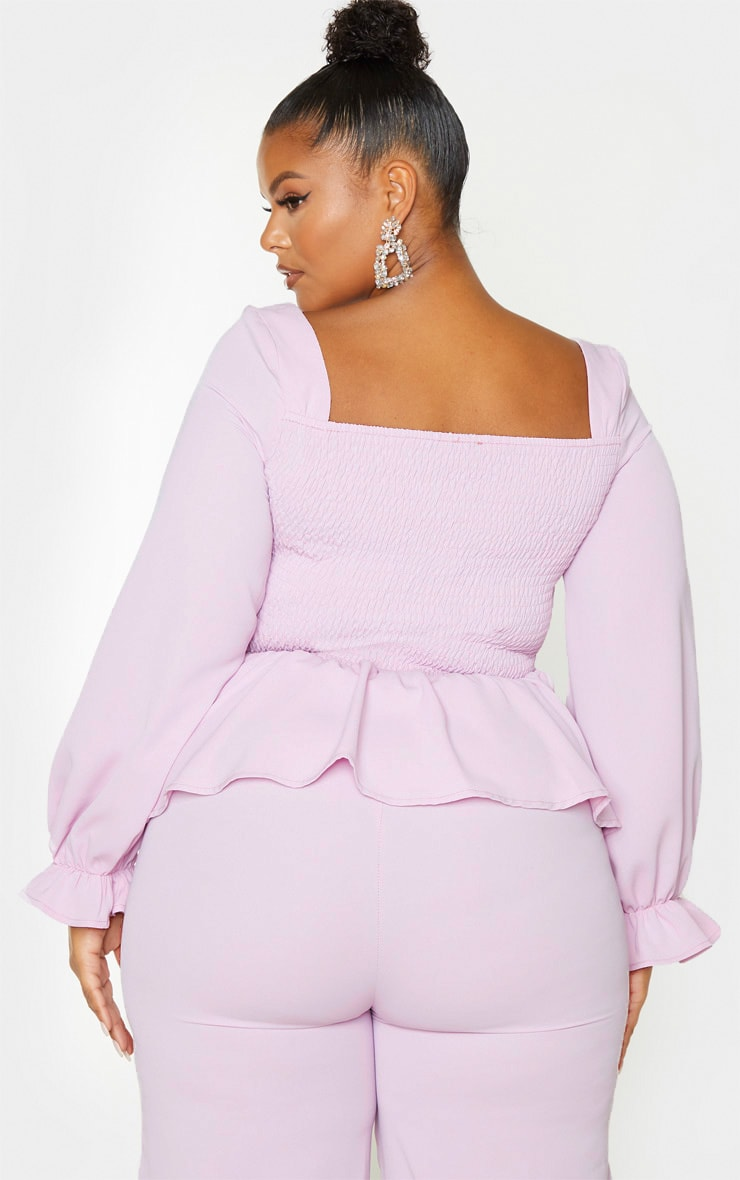 Plus Lilac Shirred Frill Detail Top 2