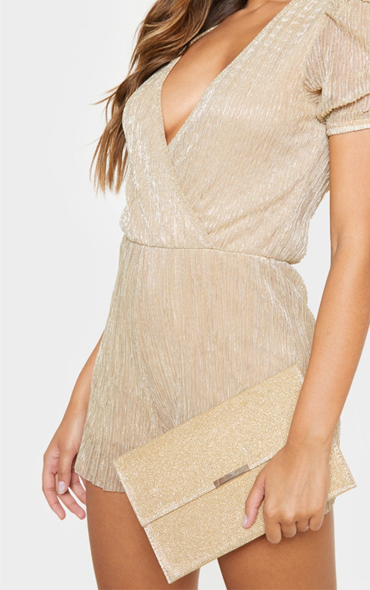 Gold Textured Glitter Basic Clutch 1