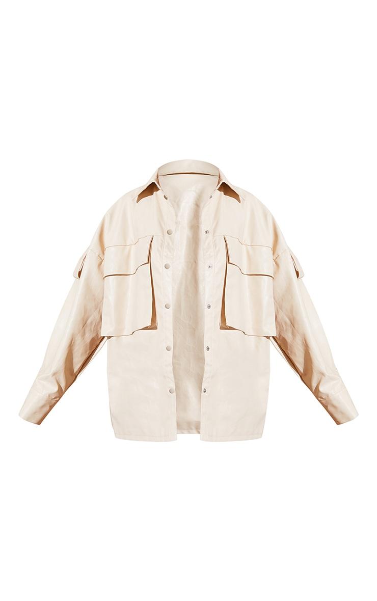 Cream PU Oversized Drop Shoulder Exaggerated Pocket Front Shacket 5