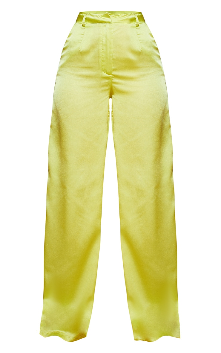 Lime Satin Wide Leg Trousers 5