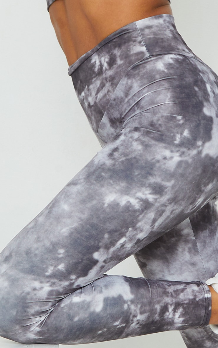 Grey Tie Dye High Waisted Sport Leggings 4