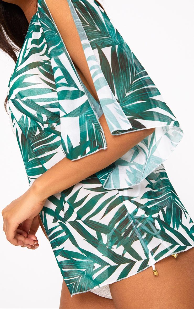 Green Palm Print Colder Shoulder Mesh Kimono 5