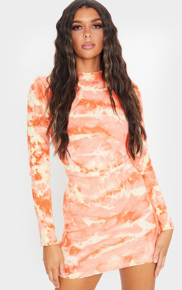 Peach Tie Dye Ribbed Long Sleeve High Neck Bodycon Dress 3