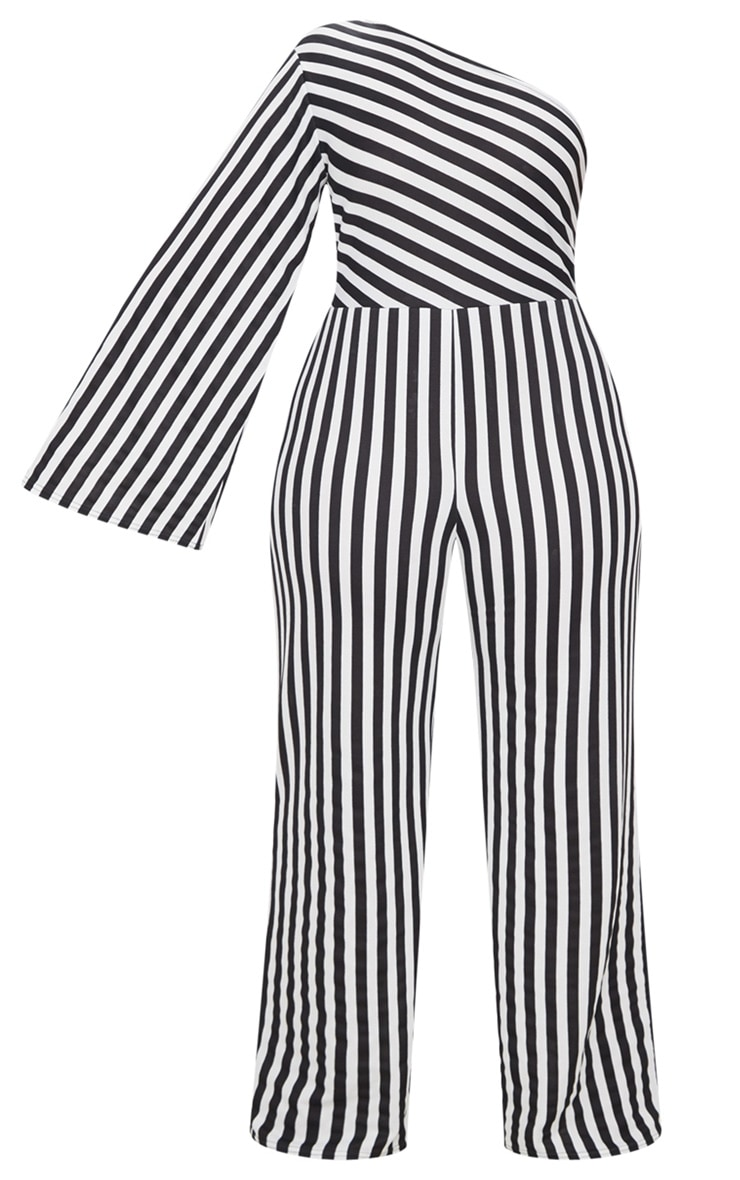 Plus Black Monochrome Stripe One Shoulder Jumpsuit 3