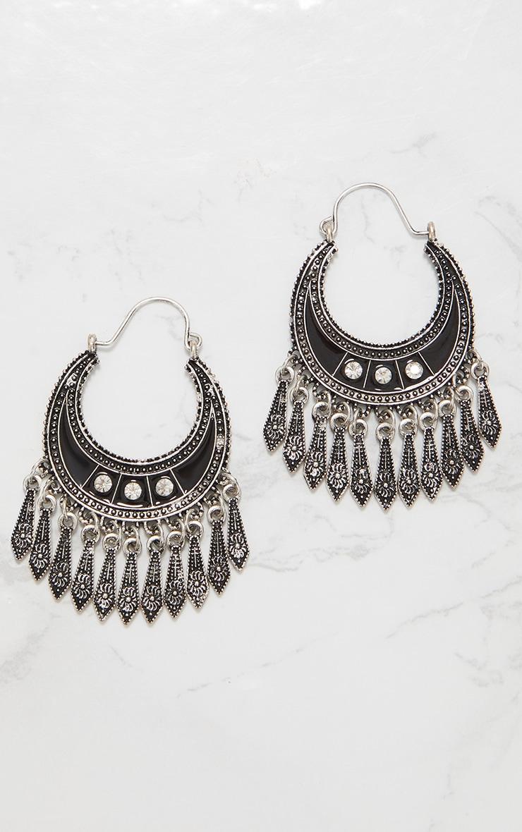 Silver Boho Diamante Tassel Earrings 3
