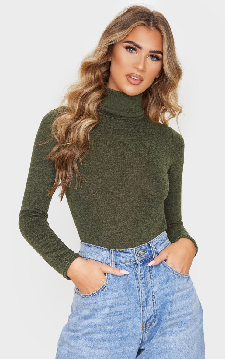 Khaki Marl Roll Neck Long Sleeve Bodysuit by Prettylittlething