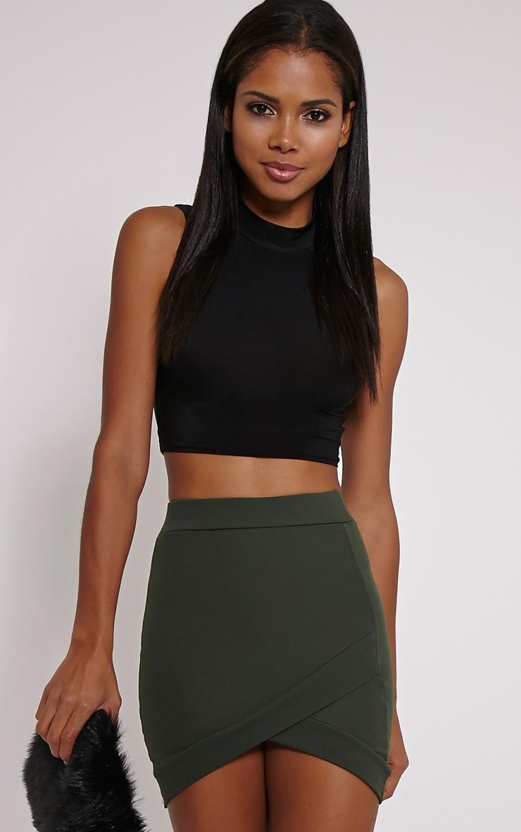 Gabriella Dark Khaki Asymmetric Mini Skirt 1