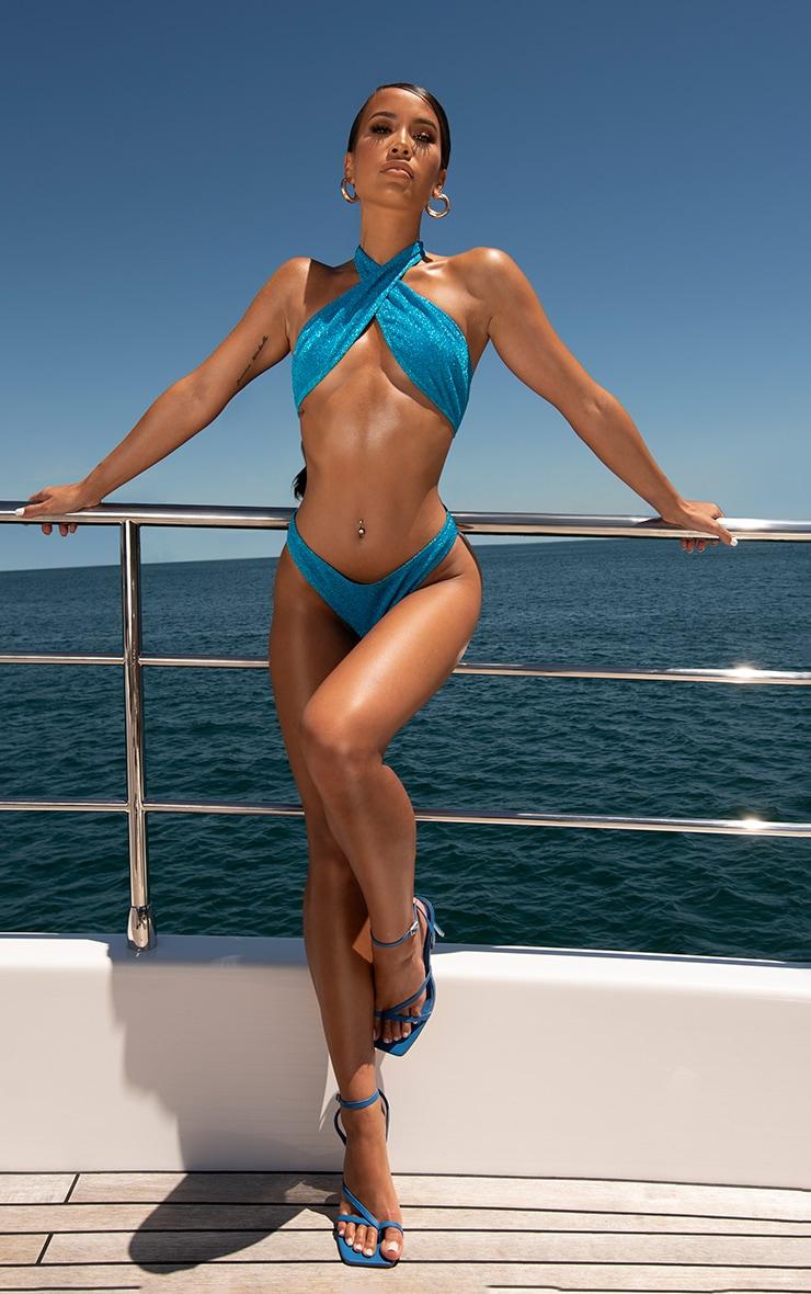 Blue Glitter Cross Front Bikini Top 1