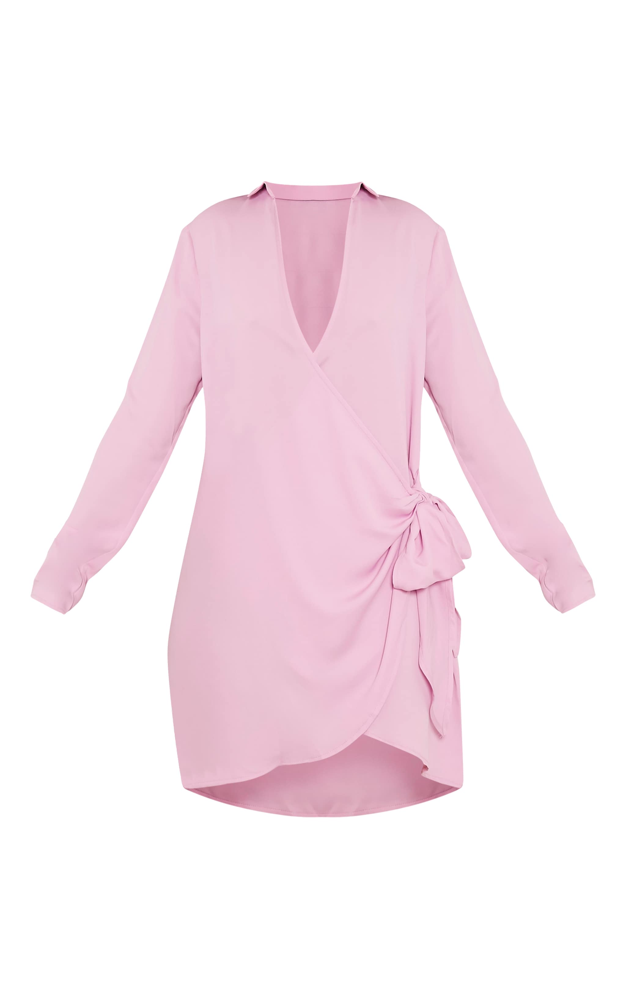 Shaylene Lilac Tie Side Satin Shirt Dress 3