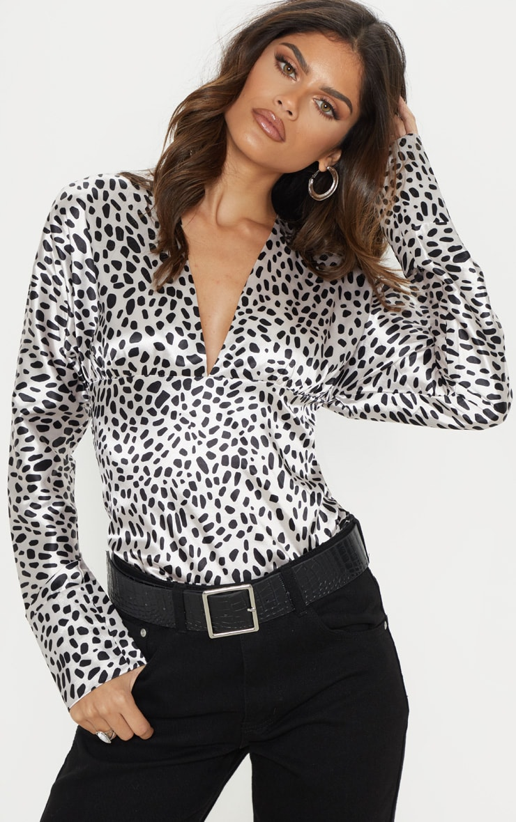 White Dalmatian Print Satin Plunge Top