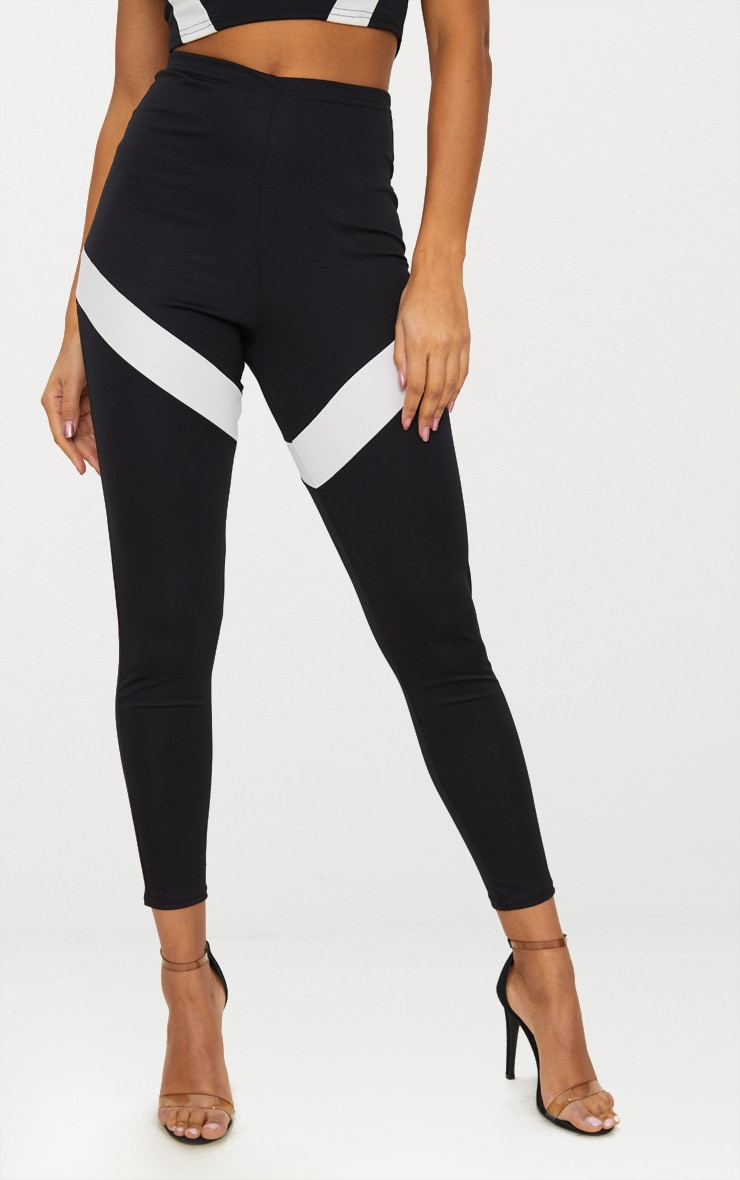 Black Contrast Panel Leggings 2