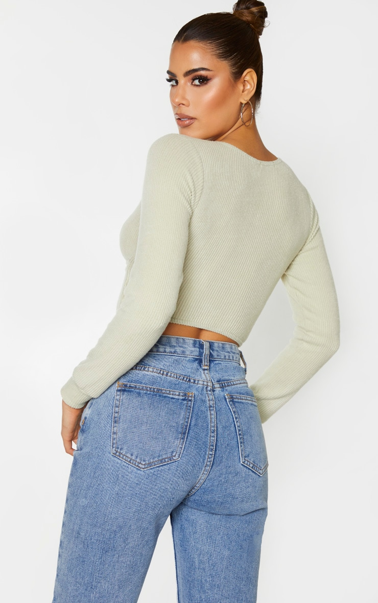 Tall Sage Green Wrap Over Long Sleeve Brushed Rib Crop Top 2
