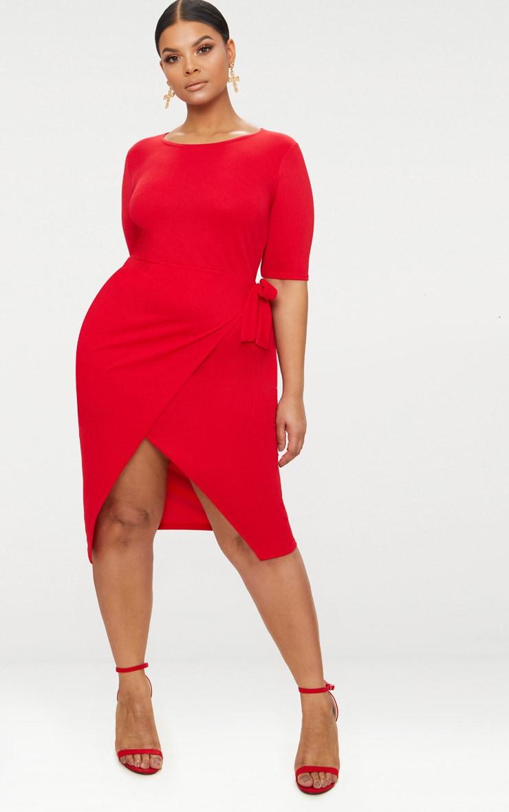Plus Red Tie Detail Midi Dress 4