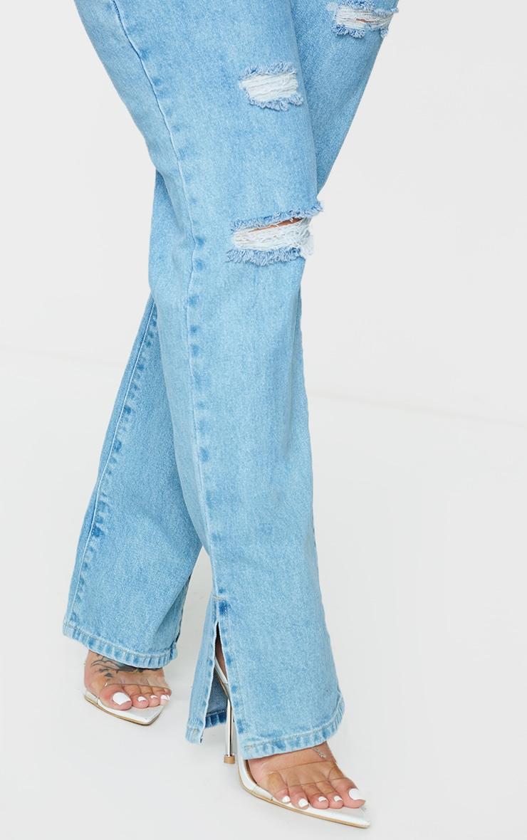 PRETTYLITTLETHING Shape Light Blue Wash Wide Leg Ripped Split Hem Jeans 4