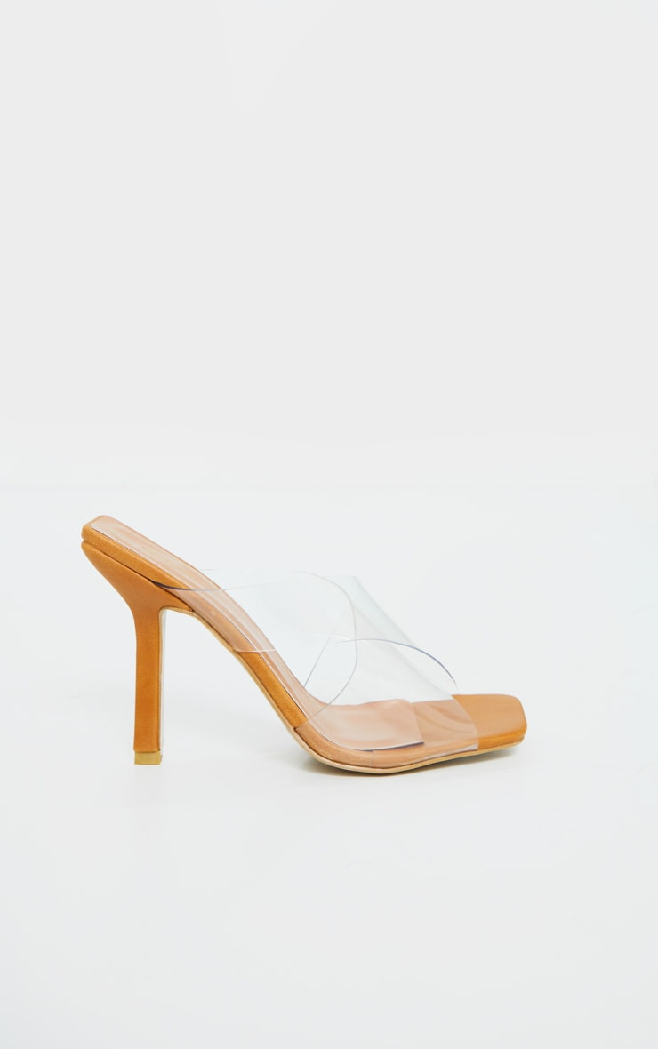 Sand Clear Cross Over Twin Strap Square Toe Mule Heels 5