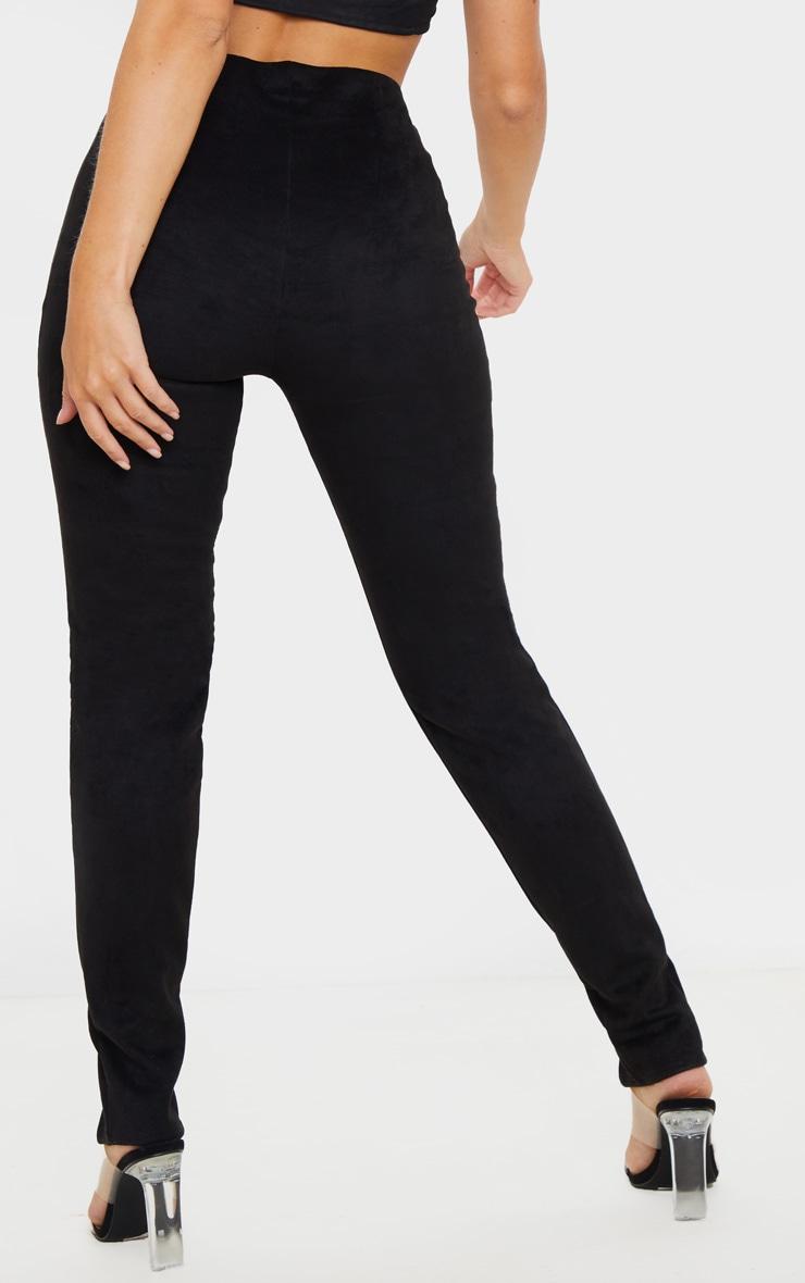 Black Faux Suede Split Front Legging 4