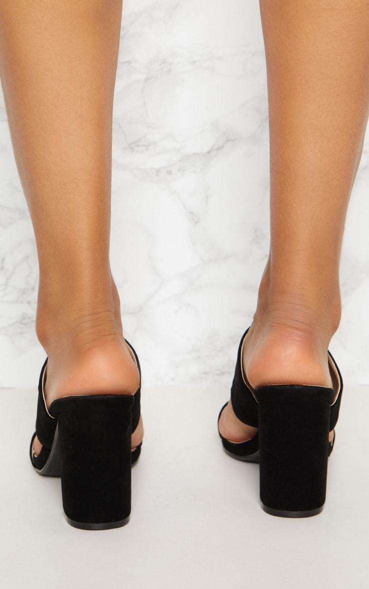 Black Twin Strap Block Heel Mule 4