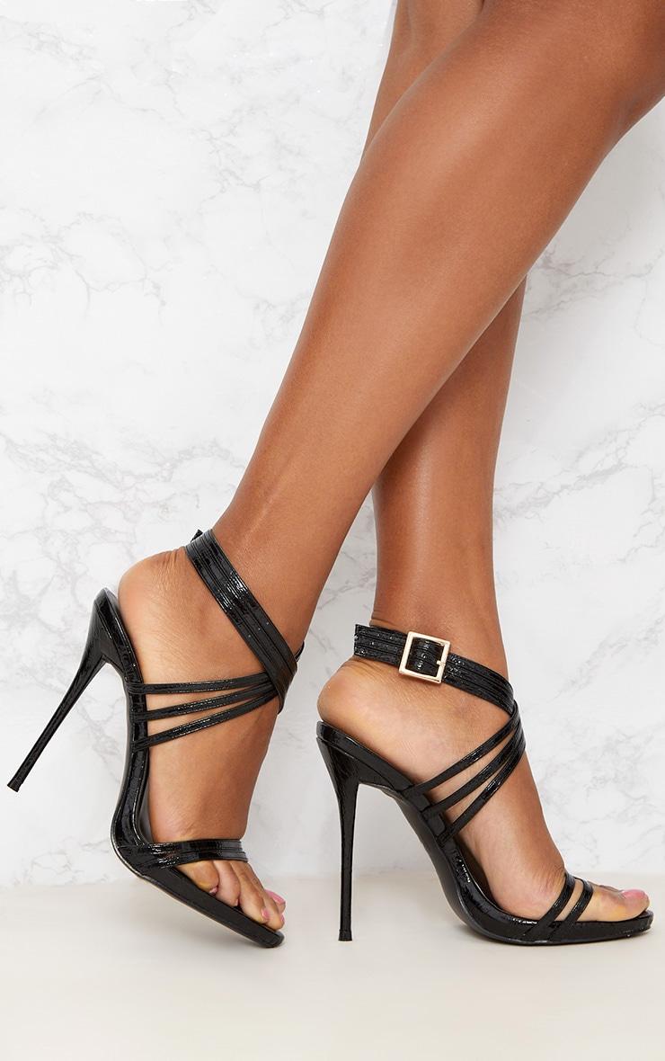 Black Multi Strap Stiletto Heels 1