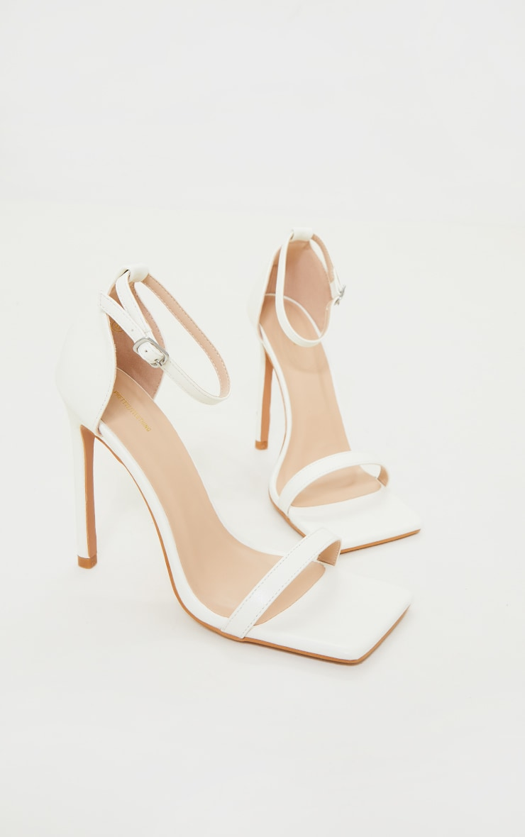White Clover Barely There Strappy Squared Toe Heeled Sandals 3
