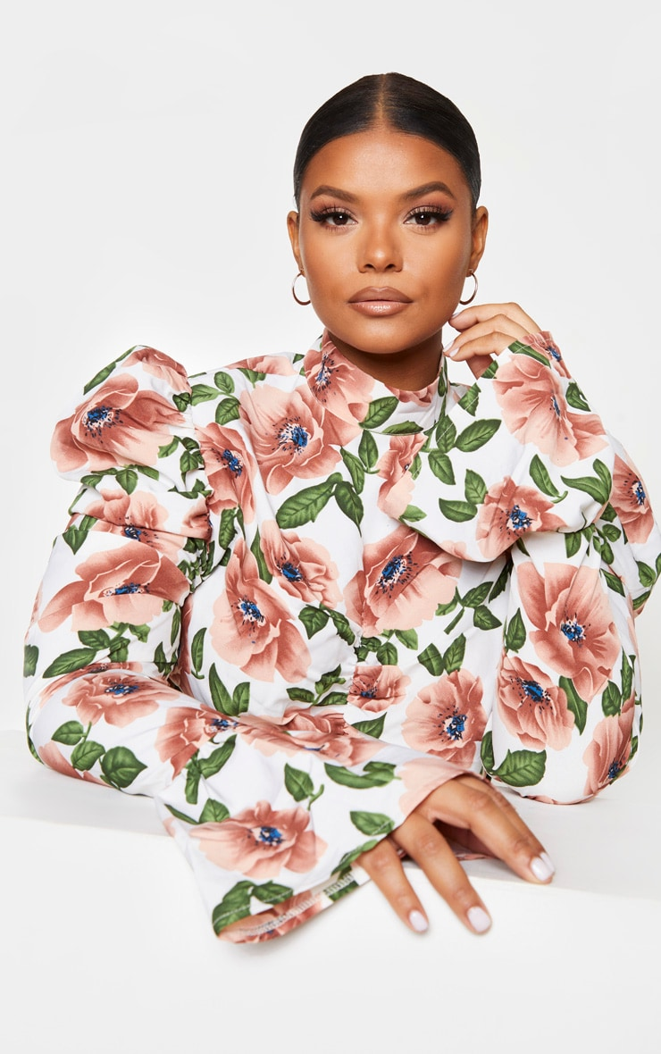 Plus Nude Floral Ruched High Neck Blouse 4
