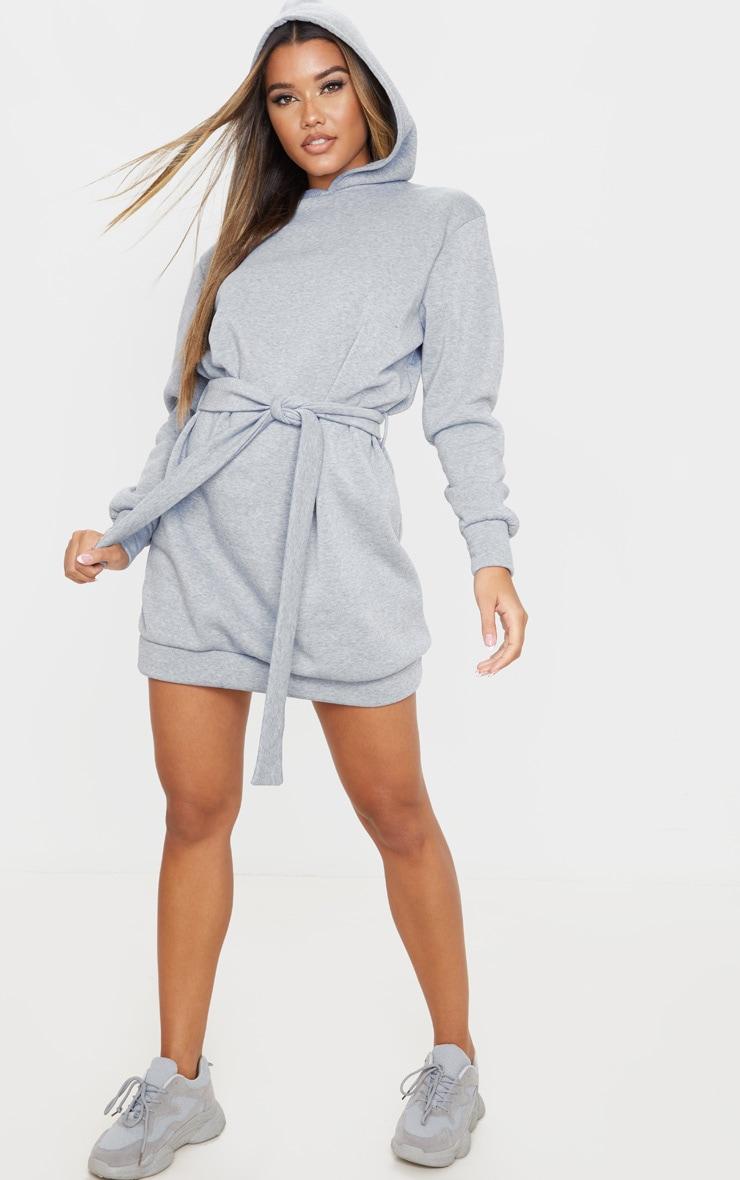 Grey Tie Waist Detail Long Sleeve Hoodie Sweater Dress 4