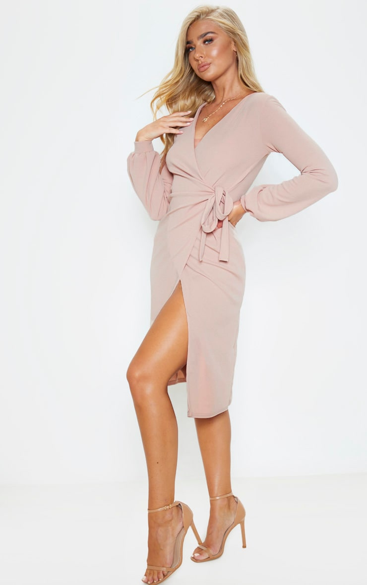 Stone Balloon Sleeve Wrap Midi Dress 4