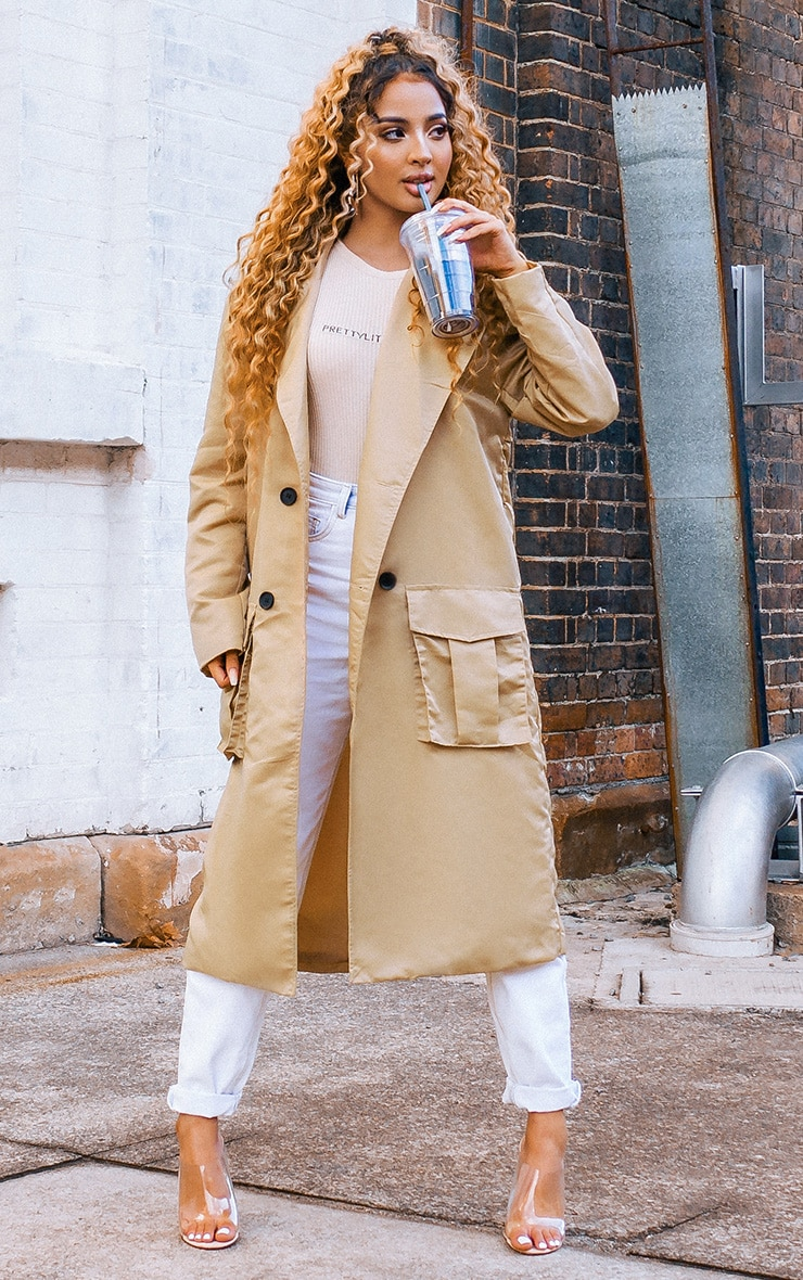 Stone Nylon Belted Trench 1