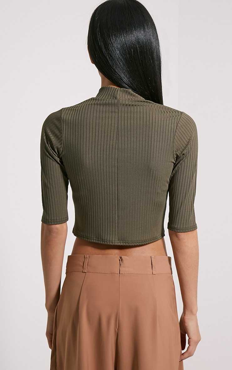 Claire Khaki Ribbed Cut Out Crop Top 3