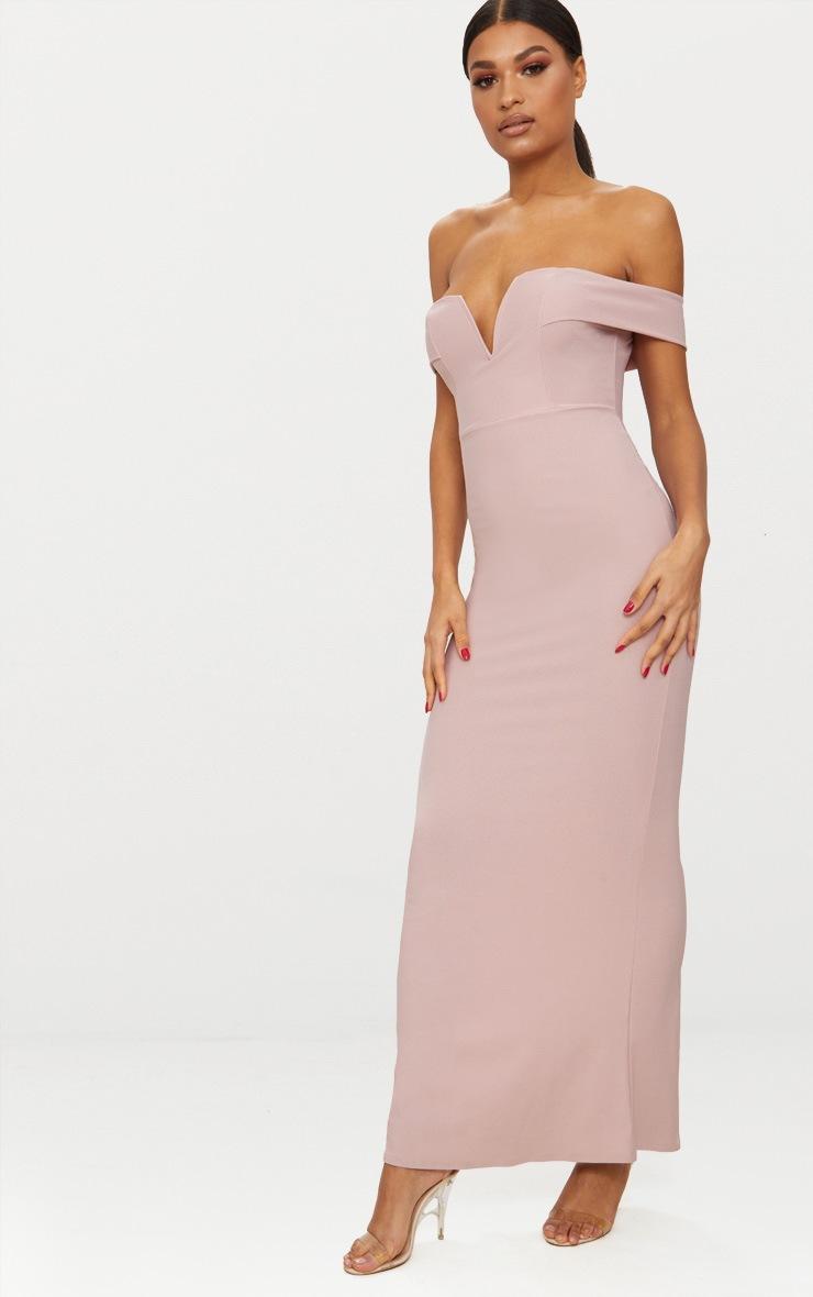 Dusty Pink Bardot V Plunge Maxi Dress 4