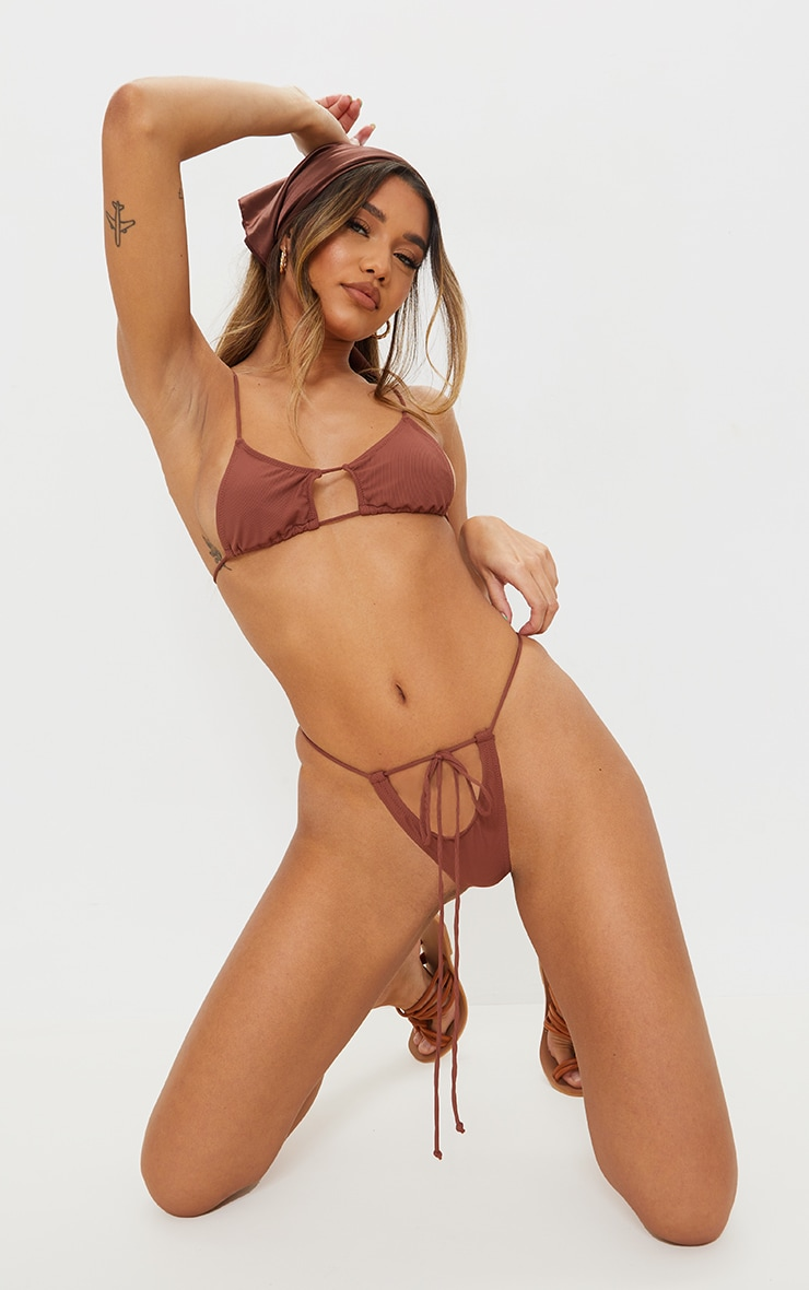 Chocolate Mix & Match Ribbed Cut Out Tie Bikini Bottoms