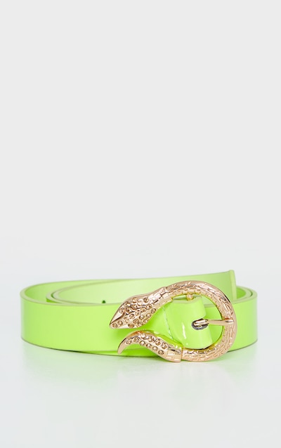 Neon Lime PU Gold Snake Buckle Belt