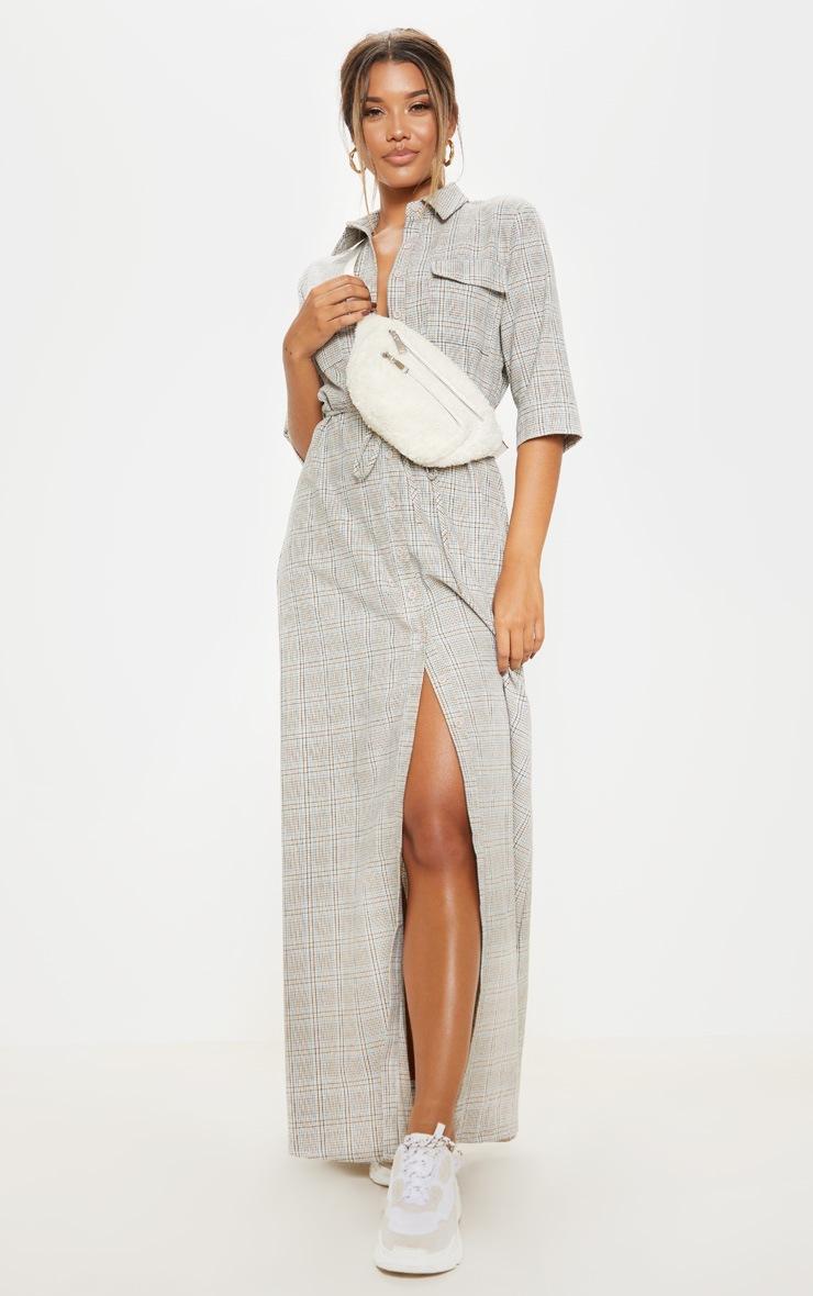 Vaak Cream Check Pocket Maxi Shirt Dress | PrettyLittleThing USA @WM46