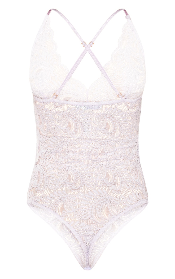 Lilac Lace Cross Back Bodysuit 4