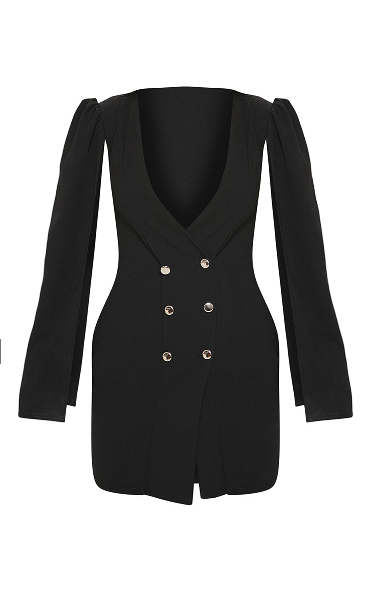 Black Cape Button Detail Blazer Dress 3