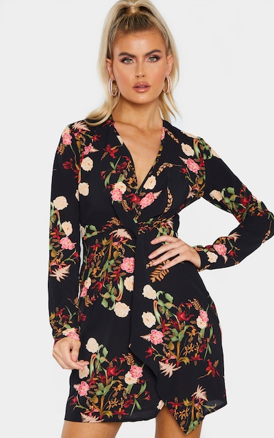 Tall Black Oriental Print Satin Long Sleeve Wrap Dress