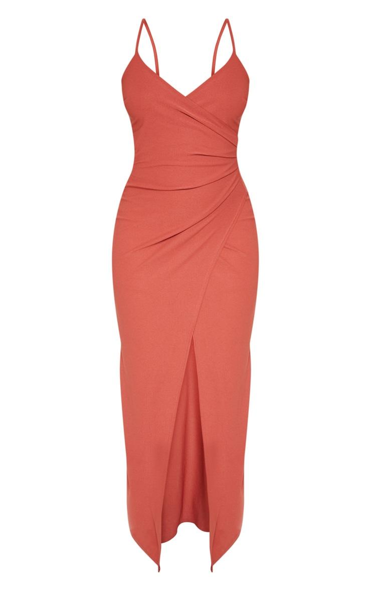 Terracotta Wrap Front Crepe Maxi Dress 3