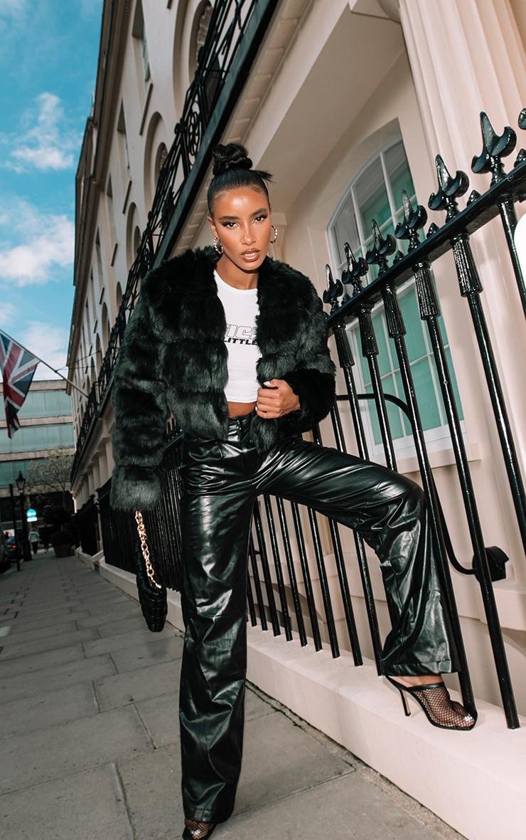 Black Premium Cropped Faux Fur Bubble Coat 3