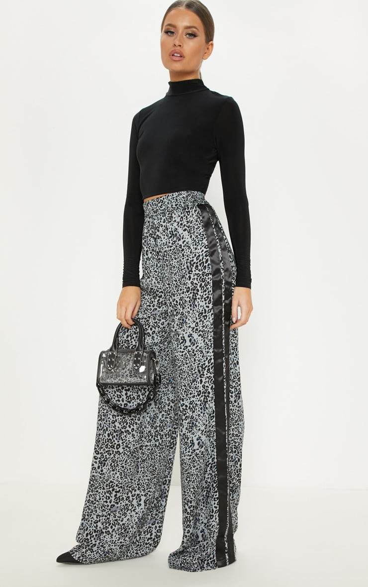 Dusty Blue Elasticated Waist Leopard Print Wide Leg Trouser 1