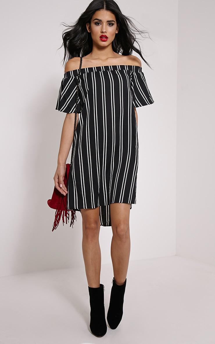 Lexi Black Stripe Bardot Mini Dress 3