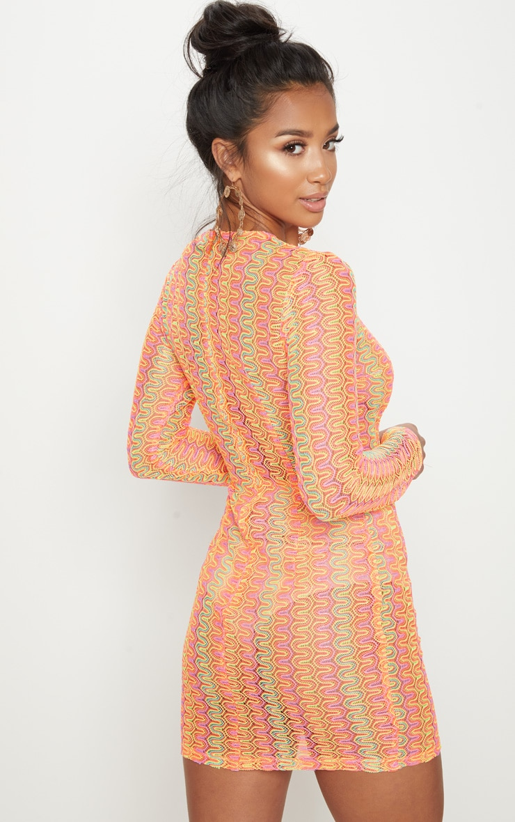 Petite Neon Pink Crochet Shift Dress 2