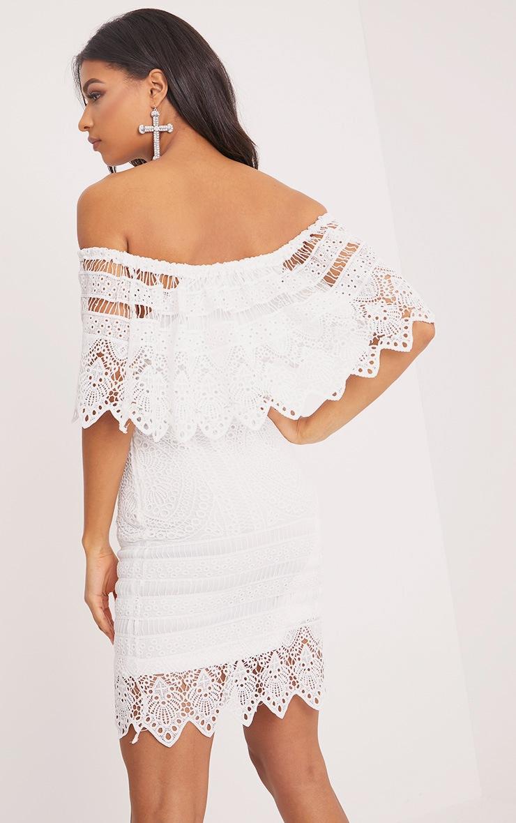 Nora White Lace Bardot Midi Dress 2