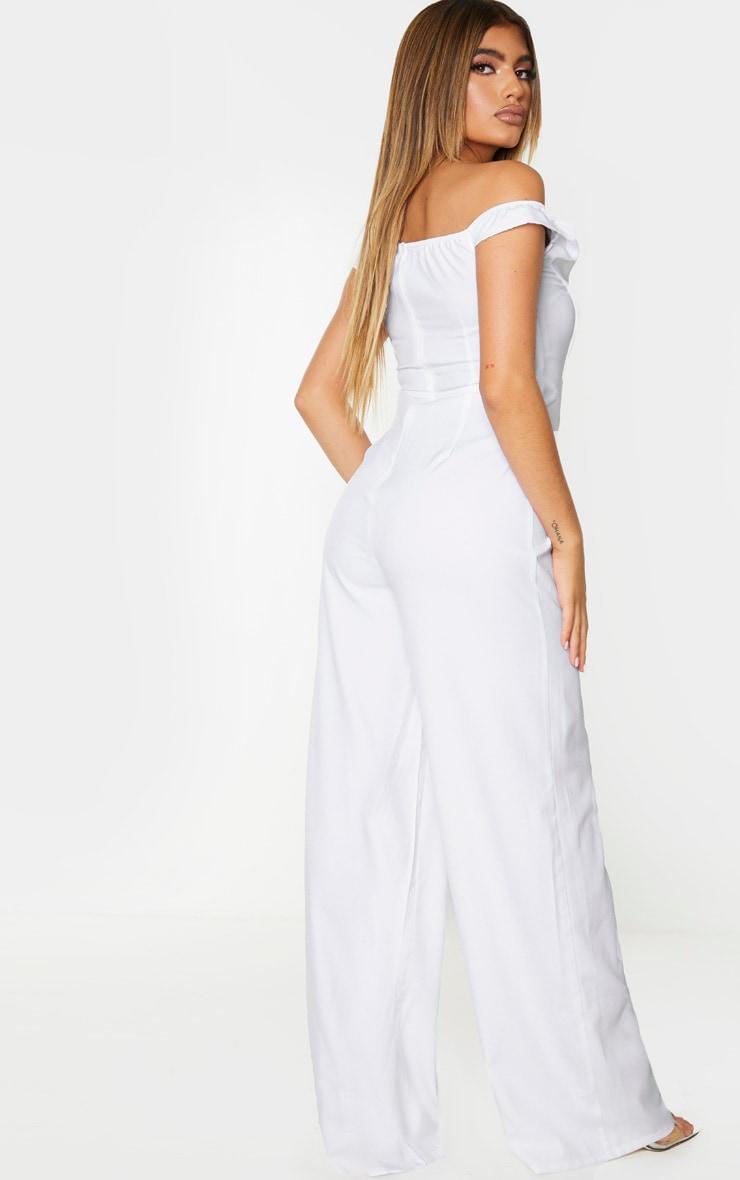 White Corset Bardot Jumpsuit 2