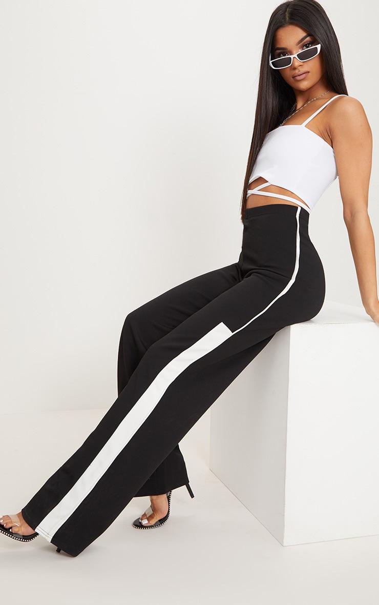 Black Contrast Binding Stripe Straight Leg Trouser 1