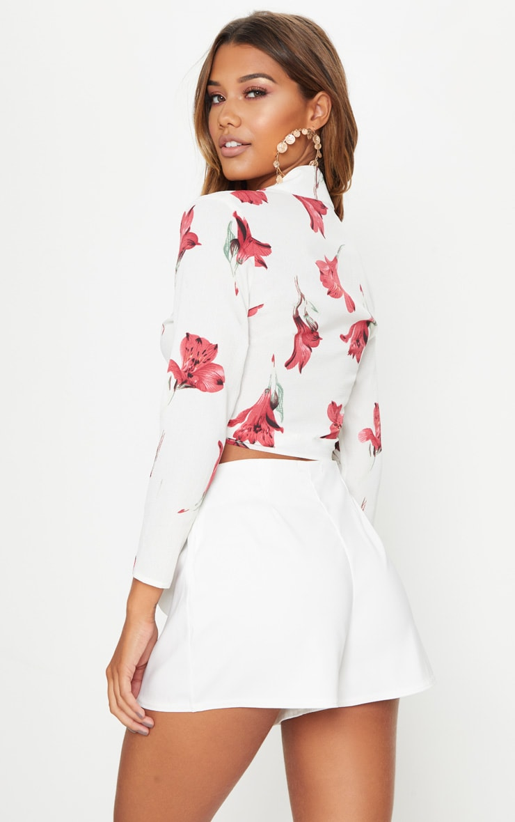 White Rose Print Tie Front Blouse 2