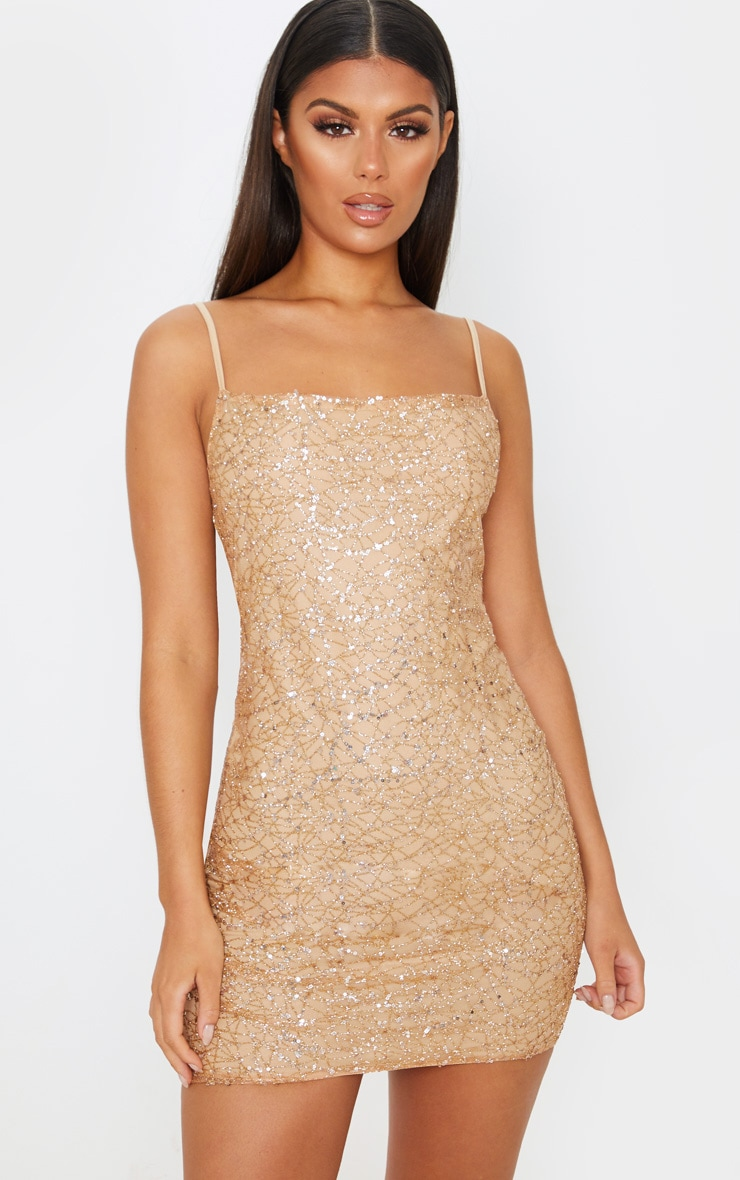 Rose Gold Strappy Sequin Glitter Detail Bodycon Dress 1
