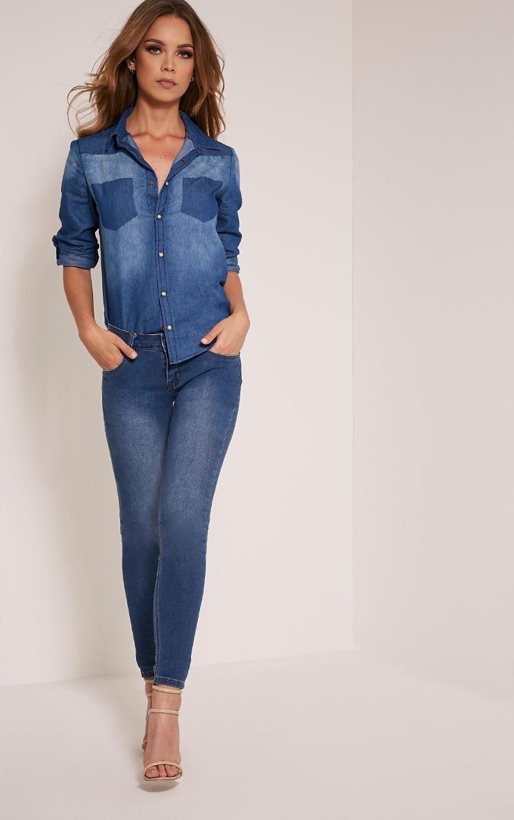 Francine Mid Wash Denim Shirt 5