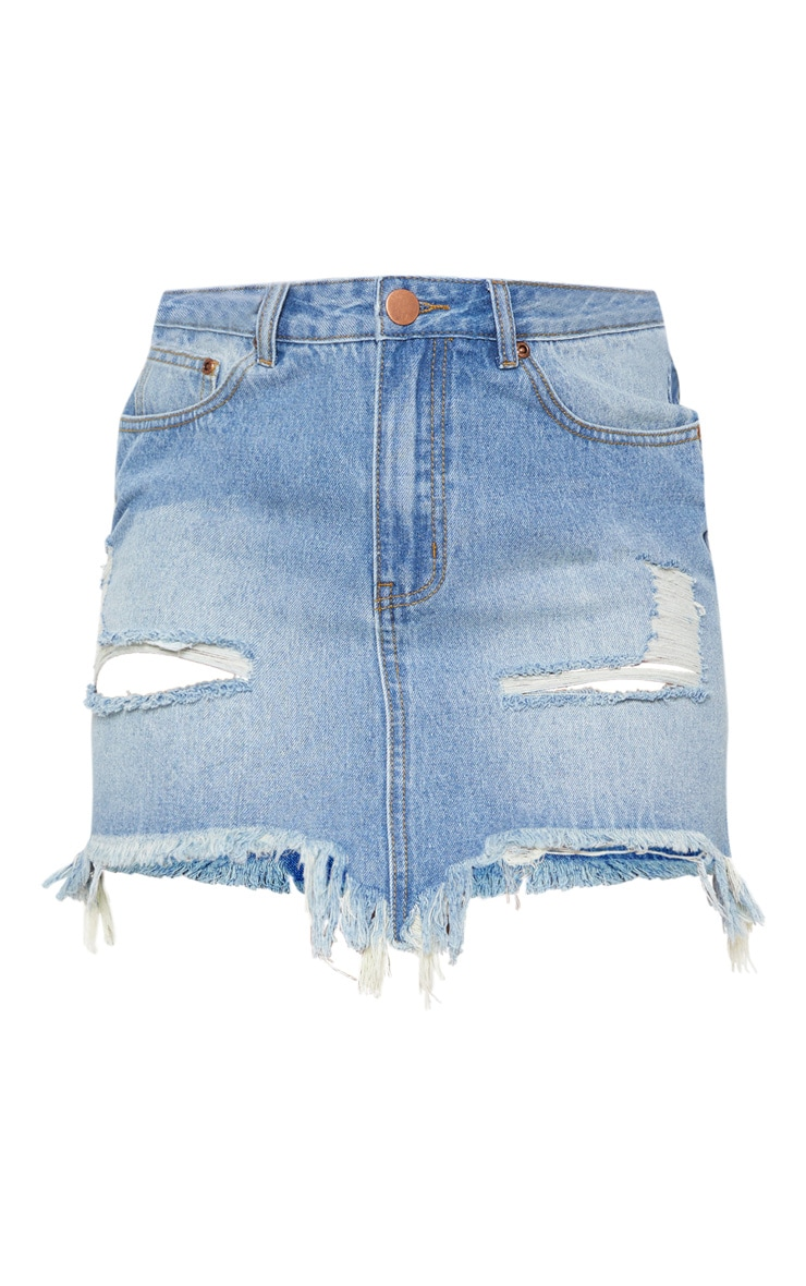 Mid Wash Distressed Denim Mini Skirt 3