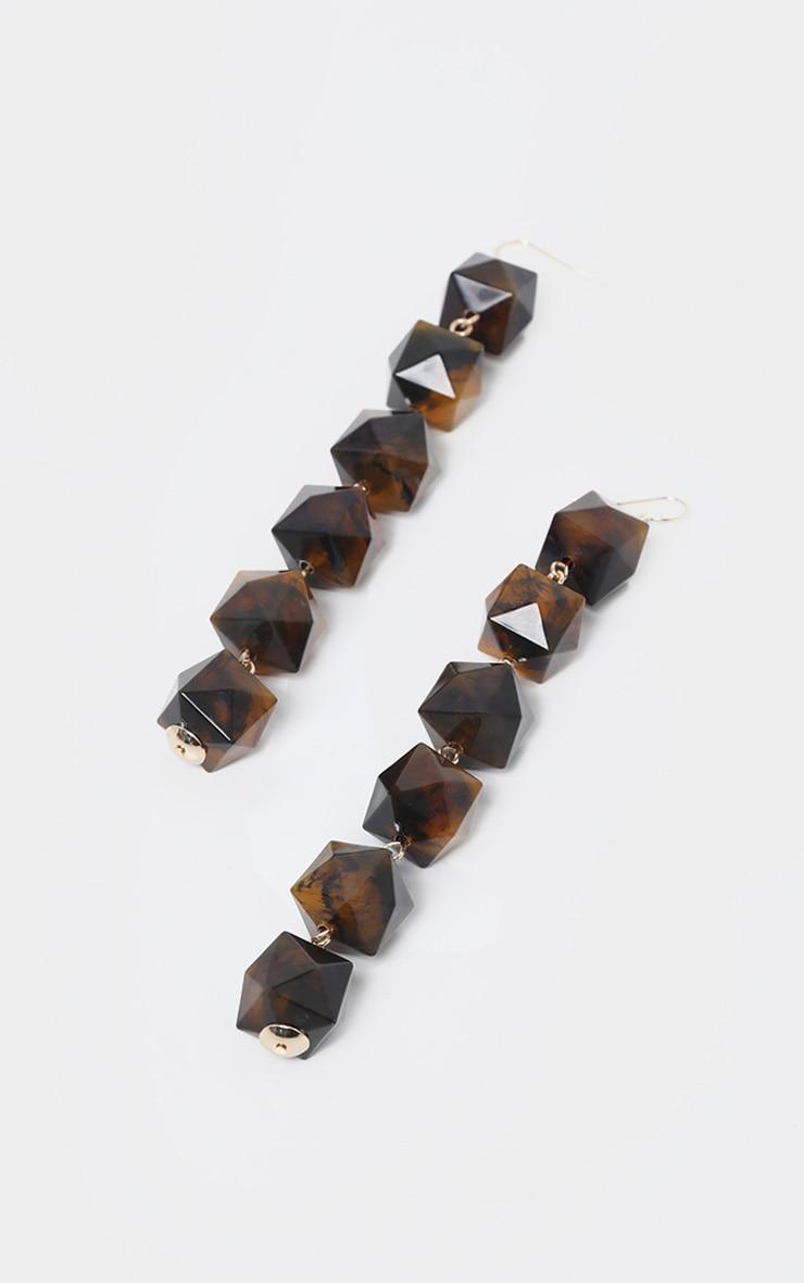 Brown Drop Beaded Earrings 2