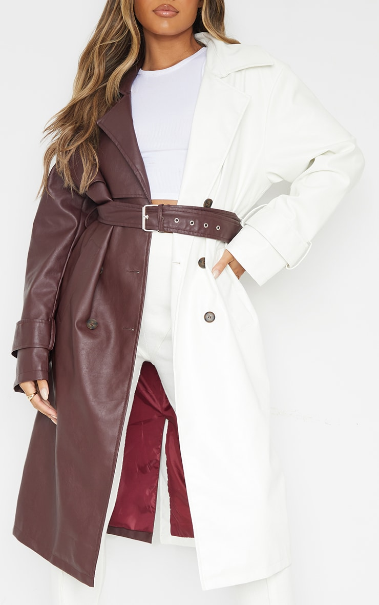 Chocolate Faux Leather Contrast Panel Front Trench 4